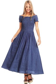 Coquette Chambray Dress  Beautiful chambray dress with a fully stretchy smocked bodice and off the shoulder sleeves. Full flirty skirt with pleating at the waist. Perfect dress for any daytime occasion.