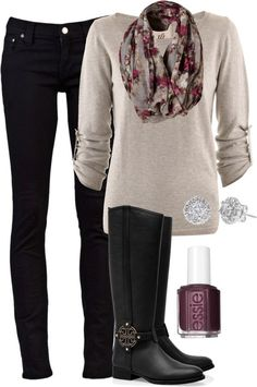 Match a floral scarf with black jeans and a white sweater, plus black riding boots for a perfect early spring outfit.