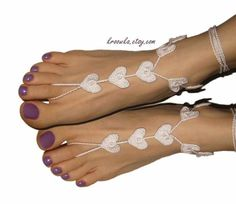 Barefoot Sandals IVORY Heart Valentine's Day gift by kroowka, $17.00