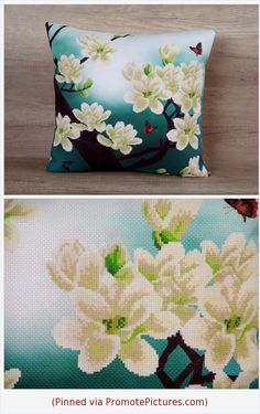Oriental cross stitch magnolia throw pillow, turquoise aqua embroidery cushion 18 x 18 (43 x 43 ) ~ asian style cover, japanese motive sham https://www.etsy.com/listing/271865812/oriental-cross-stitch-magnolia-throw?ref=shop_home_active_40  (Pinned using https://PromotePictures.com)