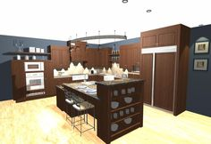 Transitional Kitchen with large multi level island, floating shelves, built-in appliances and modern light fixture Transitional Kitchen, Transitional Style, Kitchen Decor, Kitchen Design, Modern Light Fixtures, Functional Kitchen, Traditional Looks, Floating Shelves, Appliances