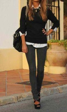 Black Sweater & Dark Grey Pants