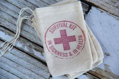 10 Survival Kit  In Sickness and In Health So fun for bachelorette parties and weddings. ChiliandPeachesAmore on Etsy Hangover Kit, recovery kit