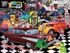 Doo-Wop 1957 Cars SunsOut 1000+ Larger Piece Jigsaw Puzzle Art by Mary Thompson, $16.50