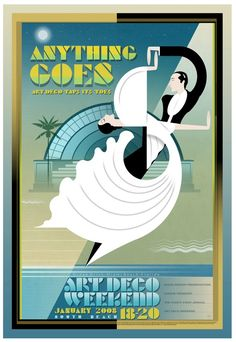 Miami Design Preservation League Art Deco Weekend Poster - 2008 - designed by Philip Brooker Miami Art Deco, Art Deco Illustration, Magazine Illustration, Art Nouveau, Retro Art, Vintage Art, Vintage Magazine, Pop Art, Art Watercolor