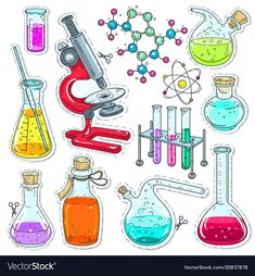 Set colorful of chemical laboratory equipment Vector Image earth adventure Stellen Sie buntes chemis Journal Stickers, Planner Stickers, Printable Stickers, Cute Stickers, Science Drawing, Medical Drawings, Chemistry Art, Simple Doodles, Illustration Sketches