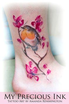 AMANDA REMMINGTON at My Precious Ink. Watercolor Robin Blossom Tattoo