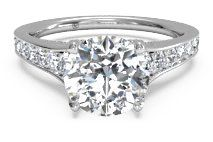 Tapered Pavé Diamond Band Engagement Ring – 2378