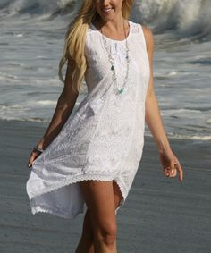 Please click on the picture to go to the detail page.  White Crochet-Accent Sleeveless Dress
