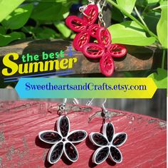Paper quilled jewelry in Summer designs and custom colors!  Request your ideal piece today SweetheartsandCrafts.etsy.com #paper #quilling #quilled #jewelry #earrings #summer #summerfashion #fashion #flowers #custom #personalized #sweetheartsandcrafts #jewelryaddict