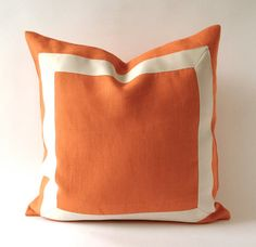 20x20 to 26x26 Orange Tangerine Linen Pillow Cover with Off White Grosgrain Ribbon- Decorative Throw Pillow Cover - Cushion Cover 51x51cm on Etsy, $70.00