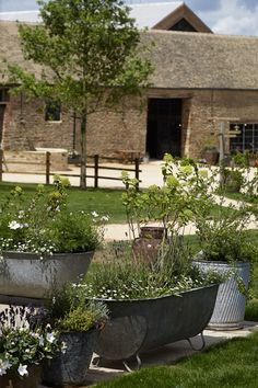 Old tin baths and milk churns as planters in the gardens at Soho Farmhouse - the coolest hotel in the Cotswolds, UK (Condé Nast Traveller)