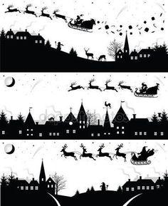 Satz von Weihnachten Silhouetten