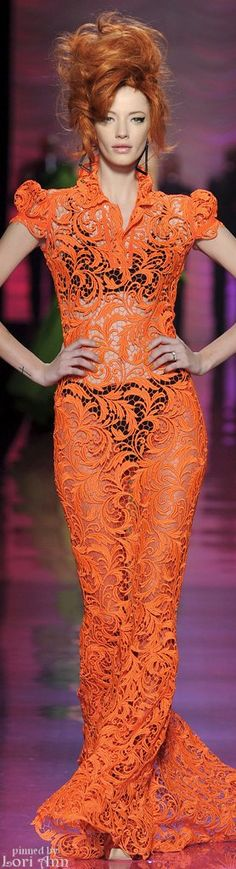 Jean Paul Gaultier - She's STUNNING~! Oh, and the dress is pretty amazing too (Orange being my fav color! ♥)