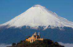 "Amazing view of Los Remedios church and Popocatepetl volcano in ""Cholula"" Puebla central Mexico!  #LoveMexico  #IwannagotoPuebla http://gotomexico.co.uk/"