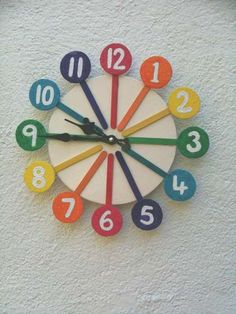 A fun and colorful clock made from inexpensive materials