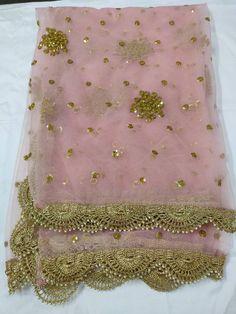 Indian Pakistani Designer Pink Color Dupatta Chunni Stole Scarves Embroiderd Net for Lehenga Suit Salwar Kameez for Women and Girls Bridal Dupatta, Lehenga Dupatta, Lehenga Suit, Indian Bridal Lehenga, Sabyasachi, Sarees, Indian Dress Up, Pakistani Wedding Outfits, Sari Blouse Designs