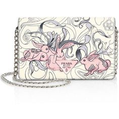 Prada Rabbit Print Leather Clutch ($1,550) ❤ liked on Polyvore featuring bags, handbags, clutches, genuine leather handbags, man bag, prada purses, white leather handbags and white hand bags