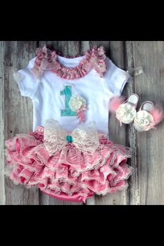 Lace and chic first birthday outfit! So cute!!