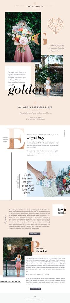 Web Design by Third Story Apartment, Lindsey Eryn Clark Project: Client: Give It Golden Design Websites, Web Design Tips, Diy Design, Blog Design, Design Ideas, Website Design Inspiration, Fashion Website Design, Simple Website Design, Layout Design