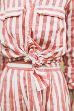striped linen in knots