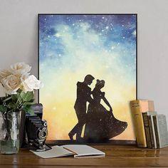 En güzel dekorasyon paylaşımları için Kadinika.com #kadinika #dekorasyon #decoration #woman #women Watercolor Princess and Prince Love Under The Stars Series #oriental #watercolor #prince #princess #fantasy #love #lovers #wedding #weddingdecoration #wallart #artwork #artprints #uniquegift #presents #girl