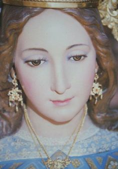 A close up of the statue of Our Lady Help of Christians, or María Auxiliadora, in Malaga, Spain.