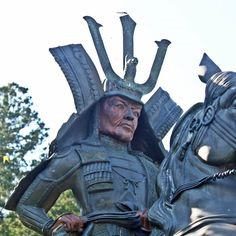 """This is a statue of Rokkaku Sadayori which stands in Higashi Omi city, Shiga prefecture.  Rokkaku Sadayori (1495-1552) was a """"Daimyo"""" (regional lord) who ruled the southern part of Omi province in the Sengoku period (or Warring States period from mid-15th to early 17th century). He established the foundation for the powerful Rokkaku clan which later fought against Oda Nobunaga."""