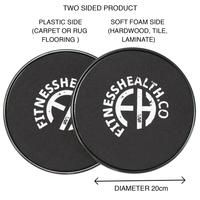FH Gliding Discs Core Training Set 2pc – Fitness Health Crossfit Equipment, Office Exercise, Hard Floor, Train Set, Reduce Stress, Total Body, Gym Workouts, Core, Training