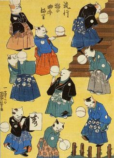 Ukiyo-e picture of samurai cats. By one of my favorite artists of all time, Katsushika Hokusai. A brilliant 18th century landscape artist, graphic designer for architects, and cartoonist.