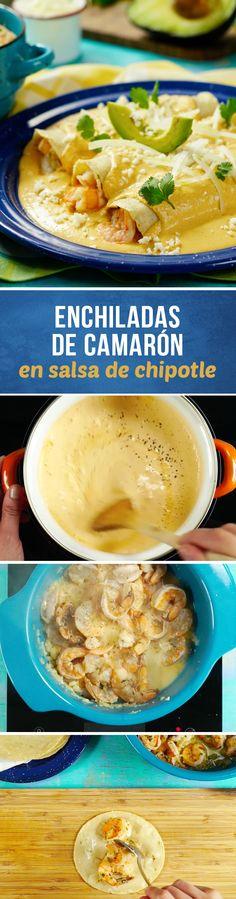 Receta de enchiladas rellenas de camarón con salsa de chile chipotle cremosita. Estas enchiladas para #cuaresma le encantarán a tu familia.