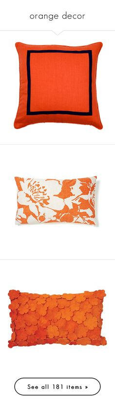 """""""orange decor"""" by crystalliora ❤ liked on Polyvore featuring orange, home, home decor, throw pillows, pillows, orange accent pillows, dark blue throw pillows, contemporary throw pillows, contemporary home decor and navy blue toss pillows"""