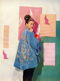 "thehappyhypocrite:    ""Mrs. Tyrone Power, formerly Hollywood actress Linda Christian, wears a Chinese style jacket of turquoise velvet, designed for her by Norman Hartnell; dipping at the back and heavily embroidered, its flare and colour is emphasised by a narrow black velveteen skirt. A gifted linguist, Mexican-born Mrs. Power speaks several languages fluently, and has travelled widely on the Continent."" (British Vogue, November 1949)Photo by Cecil Beaton."