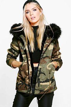 26593ccf8d3e9 Boohoo. Color NegraBomber JacketLineStyle InspirationStuff To  BuyShoppingClothesParkaBoohoo. boohoo Jessica Short Camo Faux Fur Lined ...
