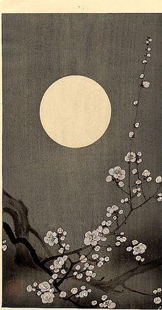 Branch and moon by Ohara Koson           Ohara Koson