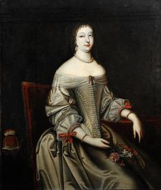Portrait of a lady, seated three-quarter length, wearing a pink and white jeweled dress, holding flowers by circle of Beaubrun (auctioned) 17th Century Clothing, 17th Century Fashion, 18th Century, Anthony Van Dyck, Art Costume, White Dresses For Women, Art Uk, Fashion History, Vintage Fashion