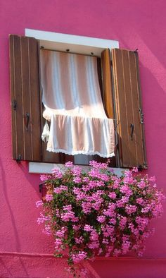 perfect color coordination - stripes on the curtain, the flowers, and the outside wall