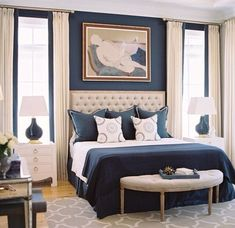 Navy Blue and Tan Bedroom | Navy blue and beige .. Lovely color combo for a bedroom