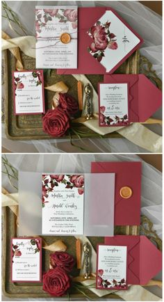 Marsala floral wedding invitation #wedding #floral #marsala #watercolor #romantic #calligraphy