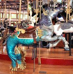 Coolidge Park Carousel Seahorse © Bette Sue Gray Date of picture: June 10 2005 Seahorse carved by Charie Harris under the direction of Bud Ellis