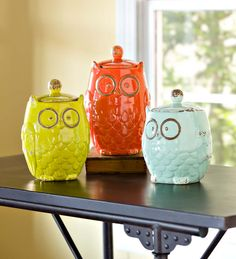 Colorful Glazed Ceramic Owl Storage Jars, Set of 3 - bring fun style and useful storage to your kitchen.