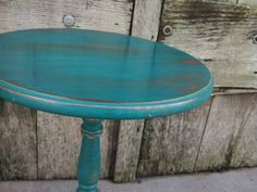 I'd like to get a simple teal or turquoise bedside table like this.  Rustic Teal Side Table accent table shabby by TheSalvagedPlanet, $125.00