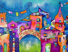 Houses On The Bridge Poster By Carolina Coto - from an interesting board of Houses, mostly stylized