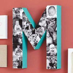 inicial con fotos de los hijos para regalar en el dia de la madre |Más #manualidades para el #diadelamadre / More #crafts for #mothersday ►http://trucosyastucias.com/decorar-reciclando/manualidades-dia-de-la-madre-con-instrucciones | #DIY #presents #regalos #ideas