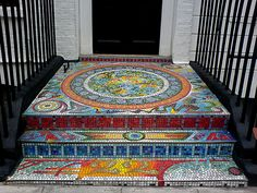 Heaps of work but divine Mosaic Stairs, Mosaic Walkway, Mosaic Pots, Mosaic Wall, Mosaic Glass, Mosaic Tiles, Porch Tile, Porch Flooring, Mosaic Crafts