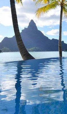 View of Mount Otemanu from the Intercontinental Bora Bora Resort & Thalasso Spa - Infinity Pool
