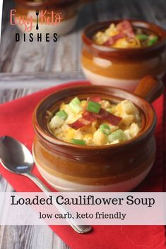 Rich creamy and satisfying this loaded cauliflower soup will make sure you never miss potatoes again! Rich creamy and satisfying this loaded cauliflower soup will make sure you never miss potatoes again! Healthy Soup Recipes, Low Carb Recipes, Real Food Recipes, Chili Recipes, Lunch Recipes, Fall Recipes, Crockpot Recipes, Dinner Recipes, Loaded Cauliflower