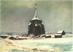 The Old Cemetery Tower at Nuenen in the Snow - Vincent van Gogh