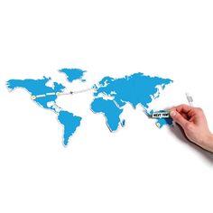 Ook leuk! Deze magnetische wereldkaart. Voor op de koelkast bijvoorbeeld. Je kunt er zelfs je route op uitstippelen.