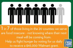 Help us by voting daily to feed more neighbors in our 20 counties in Ohio, Kentucky, and Indiana. #Walmart #Vote2FightHunger